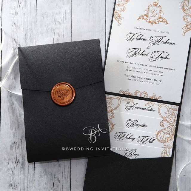 Pocket Wedding Invitation Trifold Pearlized Pocket Invitation Elegant With Seal