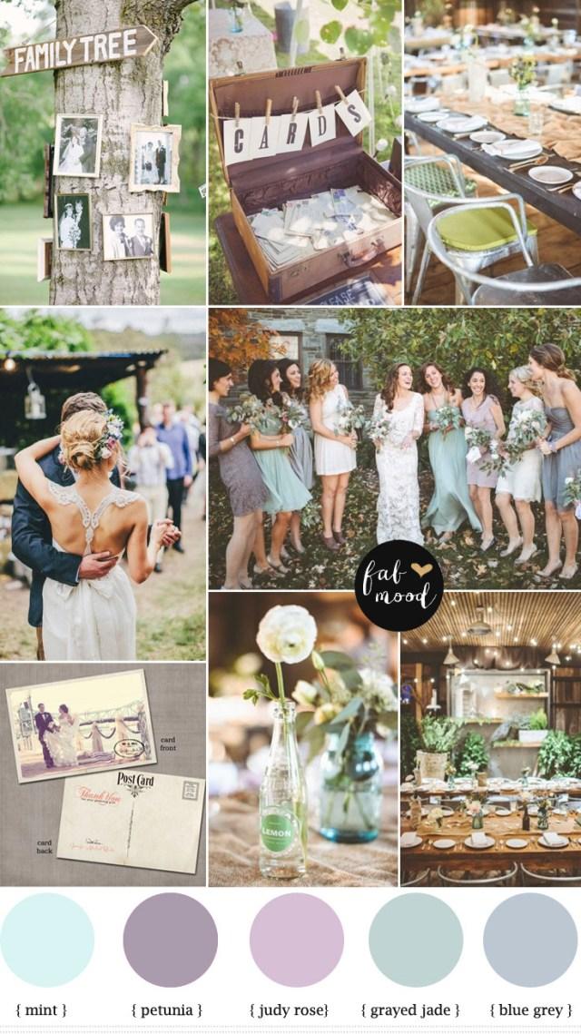 Poloroid Wedding Ideas Shades Of Purpleblue Grey And Grayed Jade Vintage Wedding