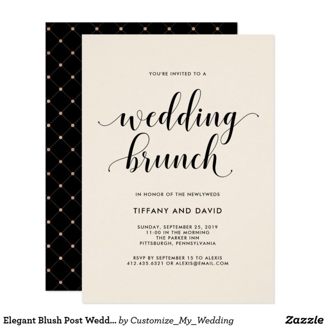 Post Wedding Brunch Invitations Elegant Blush Post Wedding Brunch Invitation Wedding Invitations