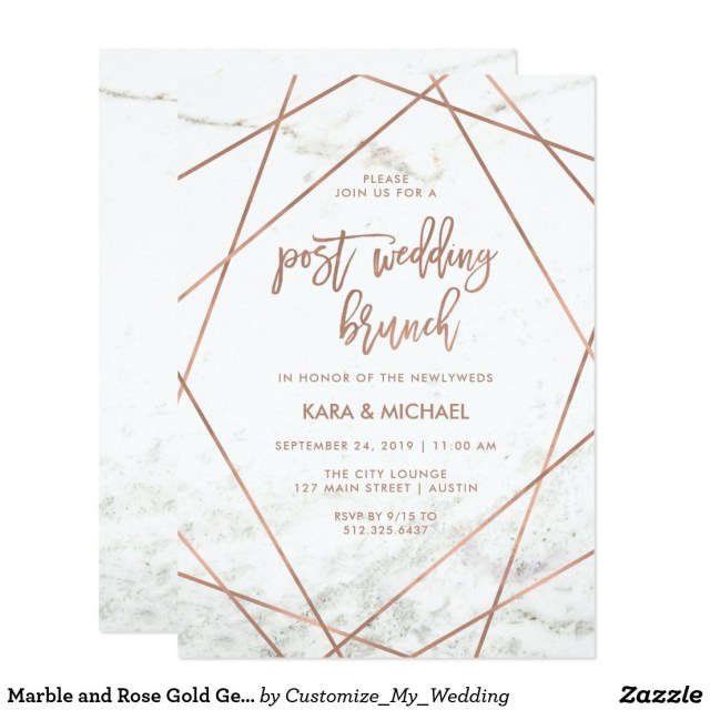Post Wedding Brunch Invitations Marble And Rose Gold Geometric Post Wedding Brunch Invitation