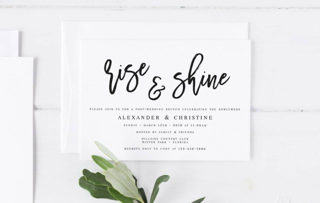 Post Wedding Brunch Invitations Modern Wedding Brunch Invitation Template Rise And Shine Etsy