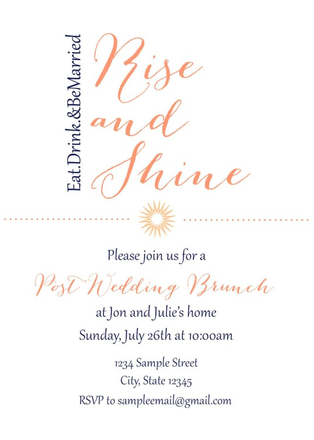 Post Wedding Brunch Invitations Post Wedding Brunch Invitation Yourlifestorydesign On Etsy
