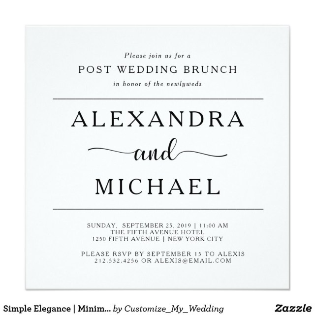 Post Wedding Brunch Invitations Simple Elegance Minimalist Post Wedding Brunch Invitation In 2018