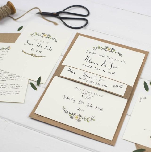 Postcard Wedding Invitations Bespoke Alicia Postcard Wedding Invitation Wildflower