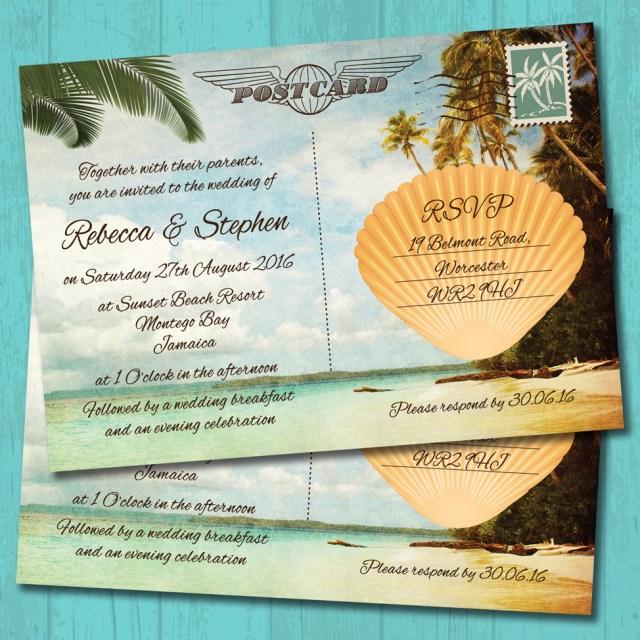 Postcard Wedding Invitations Palm Tree Beach Postcard Wedding Invitation Elisa Design