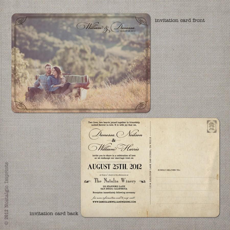 Postcard Wedding Invitations Postcard Wedding Invitations Wedding Guest Invitations Vintage