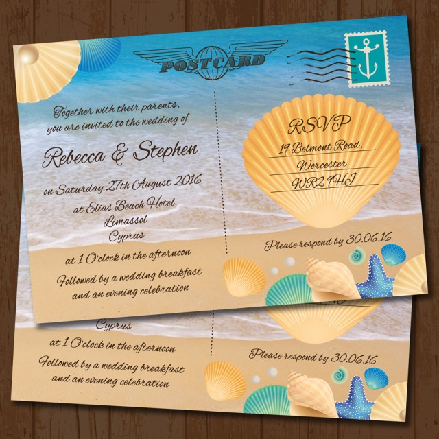 Postcard Wedding Invitations Seaside Beach Postcard Wedding Invitation Elisa Design