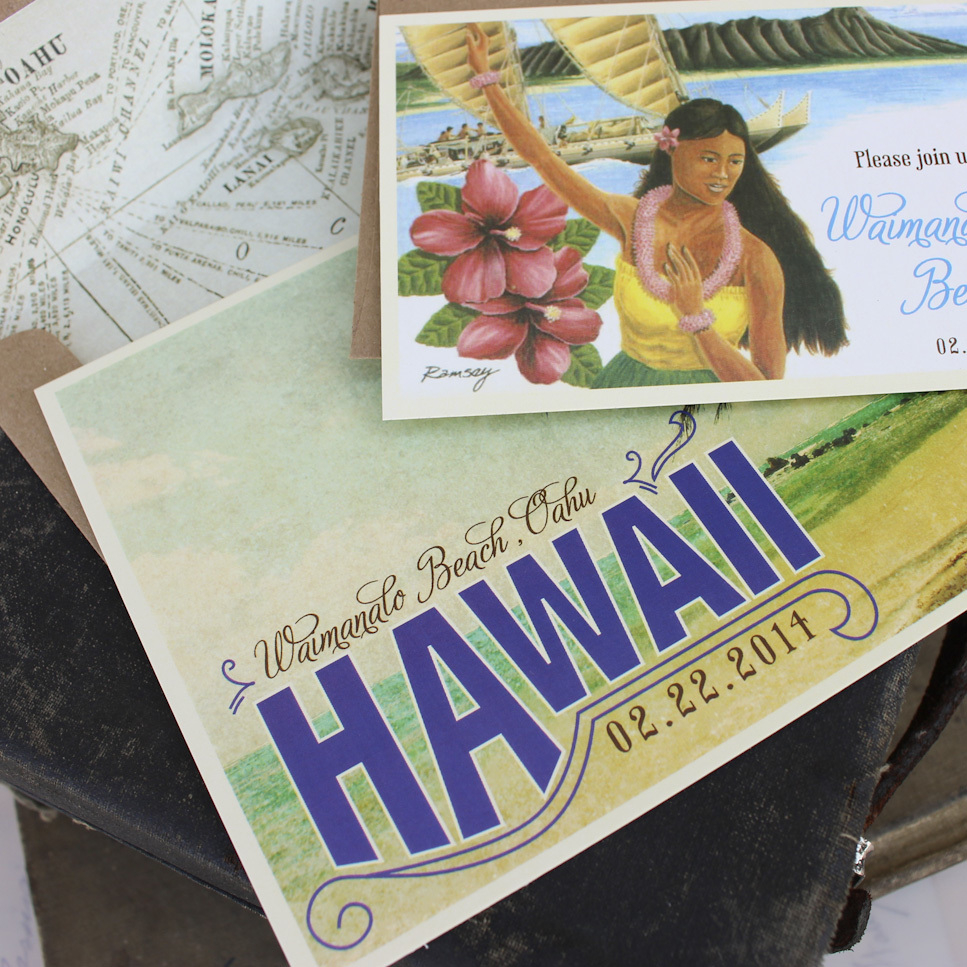 Postcard Wedding Invitations Vintage Travel Postcard Wedding Invitation Hawaii