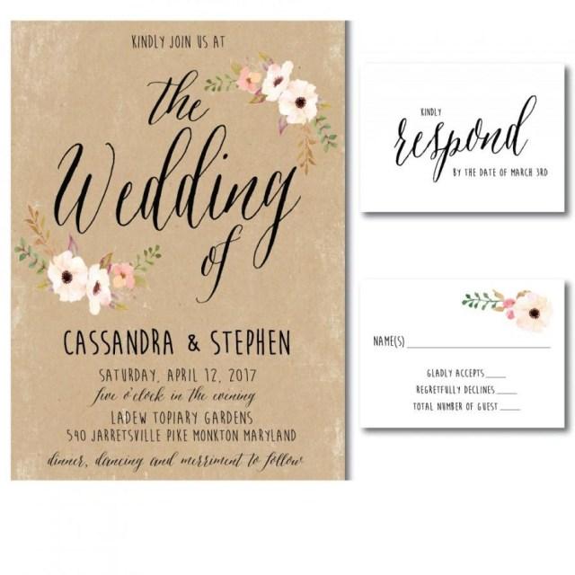 Print Your Own Wedding Invitations Wedding Invitation Printable Template Diy Printable Pdf Wedding