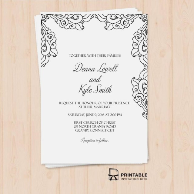 Printable Wedding Invitation Kits Brides Wedding Invitation Kits Luxury Free Pdf Vintage Side Border