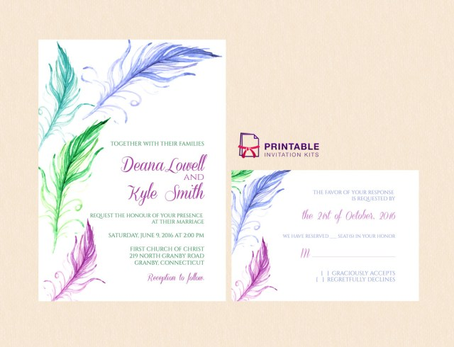 Printable Wedding Invitation Kits Bright Feathers Wedding Invitation And Rsvp Wedding Invitation