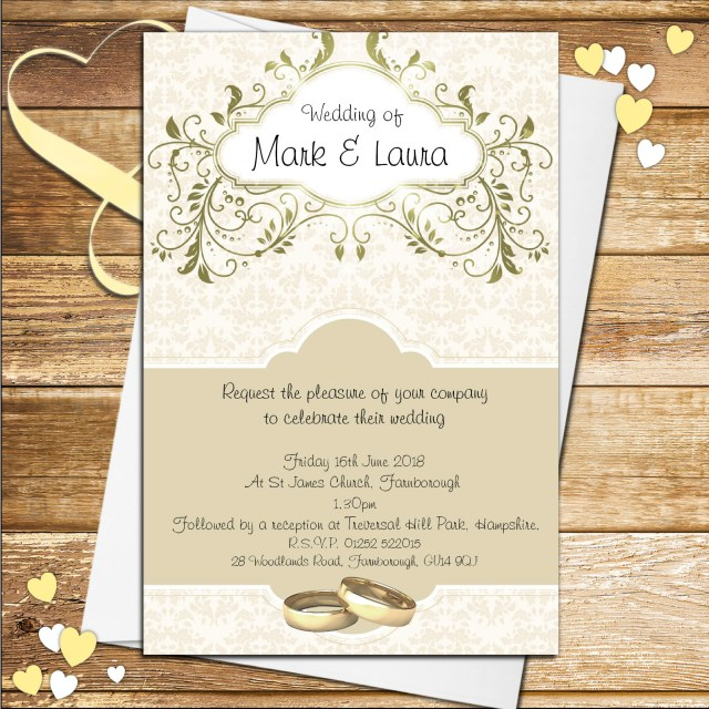 Printed Wedding Invitations 10 Personalised Gold Wedding Invitations N56