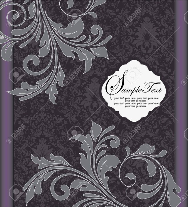 Purple And Silver Wedding Invitations Purple Silver Floral Wedding Invitation Card Royalty Free Cliparts
