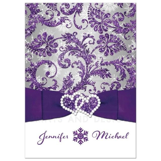 Purple Wedding Invitation Kits Purple Wedding Invitations 40322 Rectangle Silver White Damask