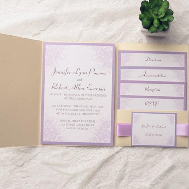 Purple Wedding Invitation Kits Purple Wedding Invitations Kits Beautiful Light Purple Flower Gold