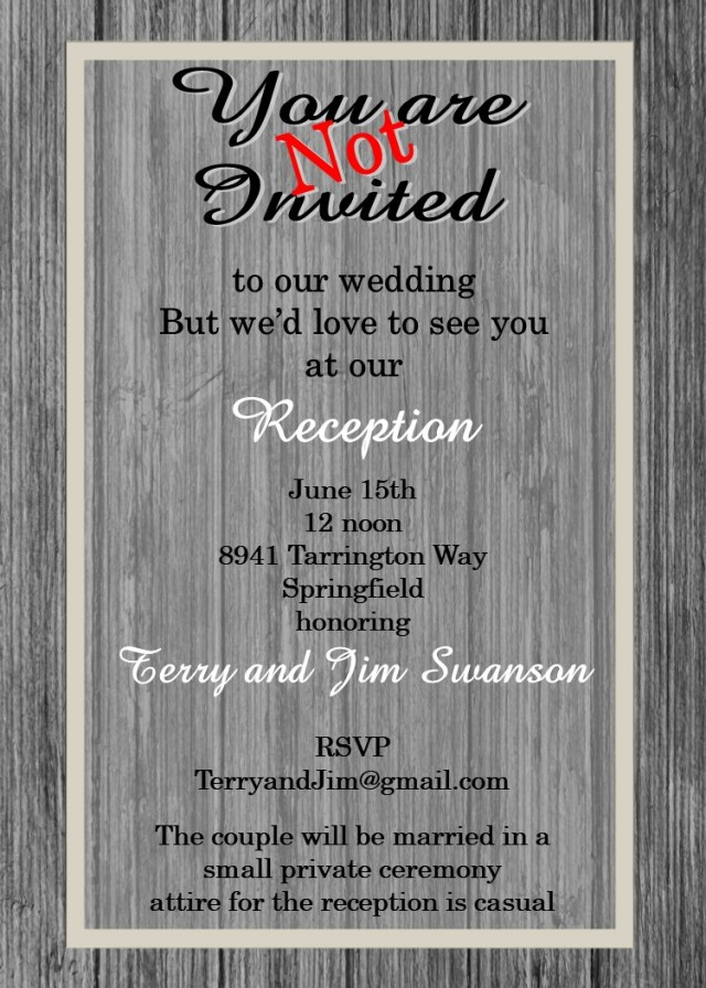 Reception Only Wedding Invitations Elopement Party Invitations Reception Only Invitations