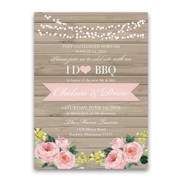 Reception Only Wedding Invitations I Do Bbq Wedding Reception Only Invitation Blush Floral