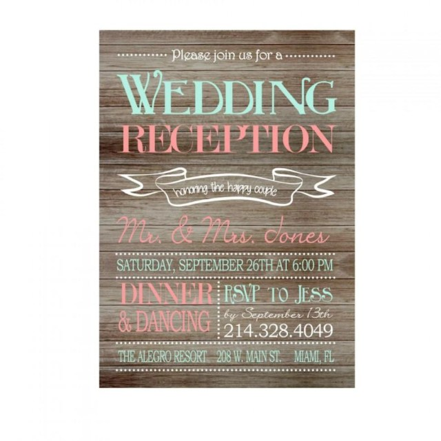 Reception Only Wedding Invitations Rustic Wedding Reception Only Invitation On Wooden Background