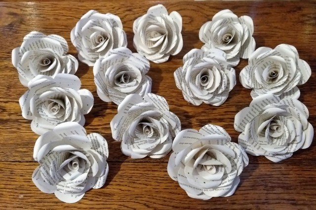 Recycled Wedding Decorations 12 Wedding Table Decorations Pack Of 12 Paper Roses Recylced Etsy