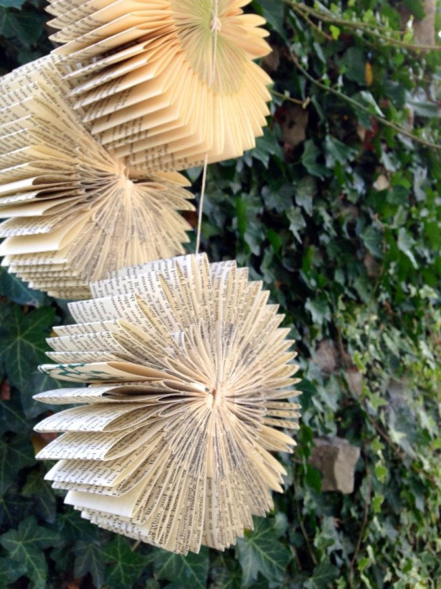 Recycled Wedding Decorations Hanging Book Bursts Set Of 3 Repurposed Recycled Reused Wedding