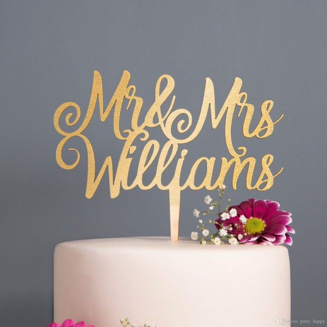 Recycled Wedding Decorations Personalised Calligraphy Mr Mrs Wedding Cake Topper Wooden Rose