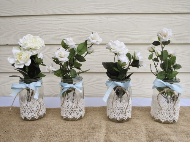 Recycled Wedding Decorations Recycled Mason Jar Into Wedding Decorations Art And Craft Projects