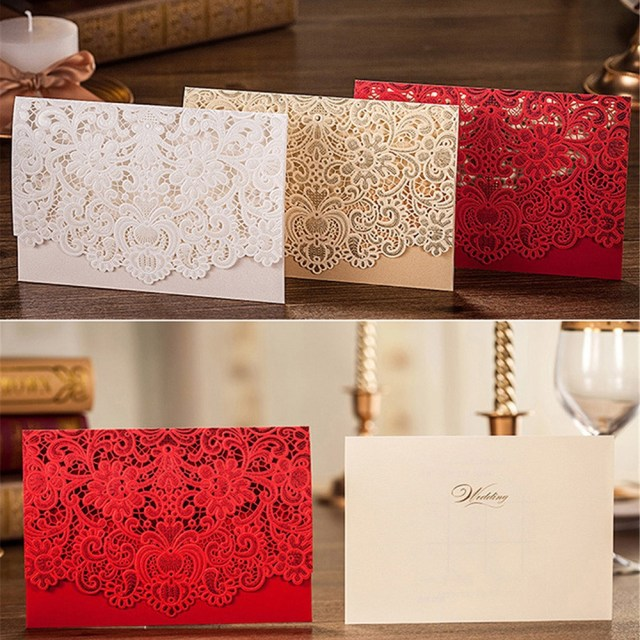 Red And Gold Wedding Invitations 10pcs Red White Gold Elegant Carved Embossed Flower Laser Cut