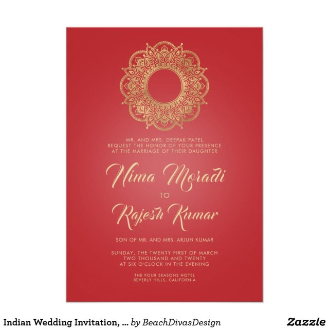 Red And Gold Wedding Invitations Indian Wedding Invitation Red Gold Mandala Invitation In 2018