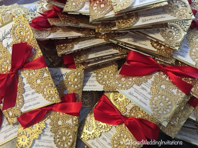 Red And Gold Wedding Invitations Lasercut Wedding Invitations Love The Red And Gold Combination