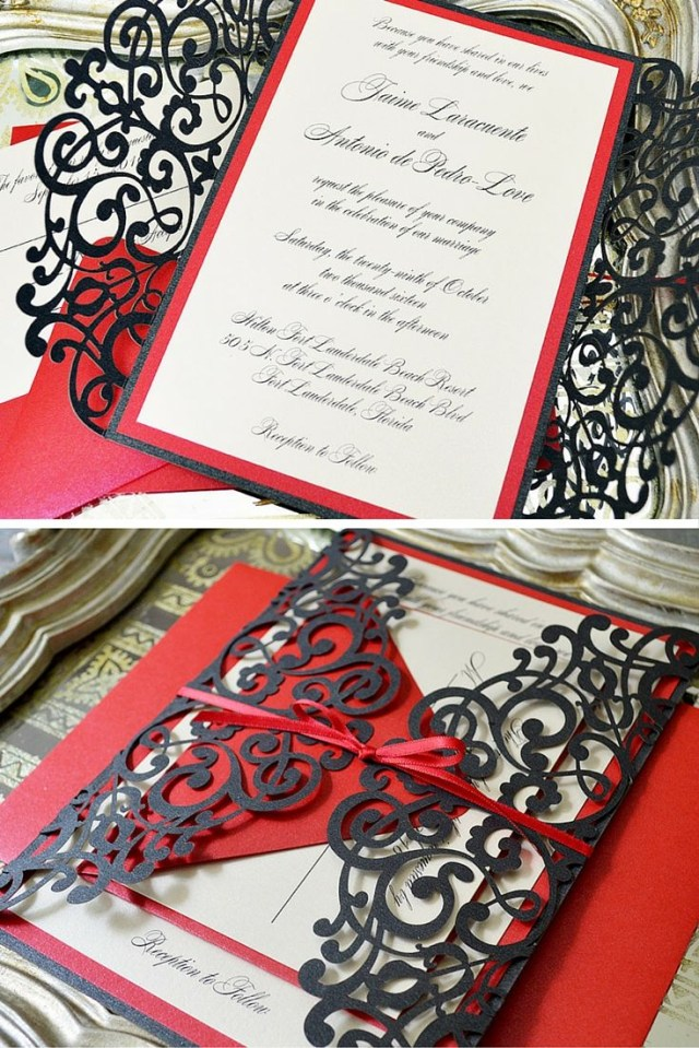 Red Wedding Invitations Black And Red Laser Cut Wedding Invitation Paper Lace