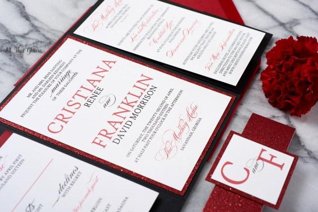 Red Wedding Invitations Cristiana Elegant Wedding Invitation Suite