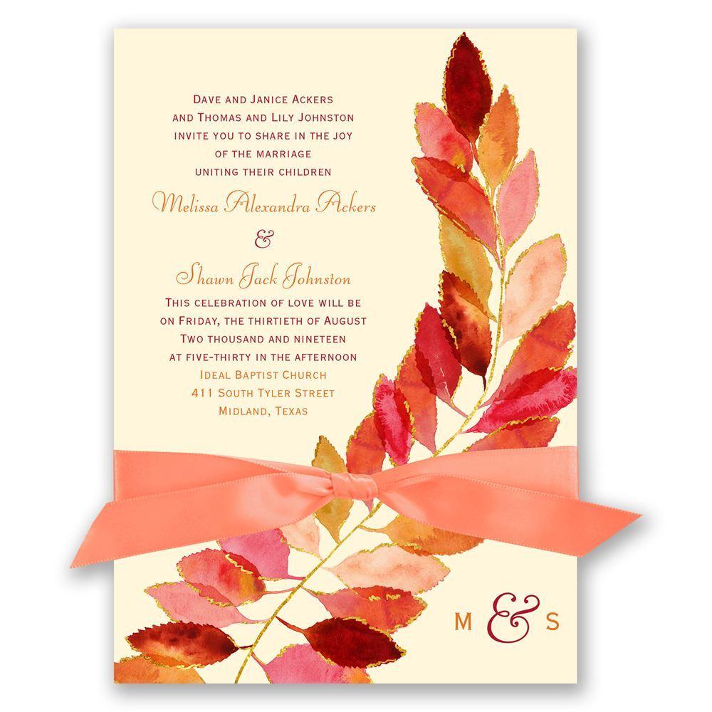 Red Wedding Invitations Feathered Fall Invitation