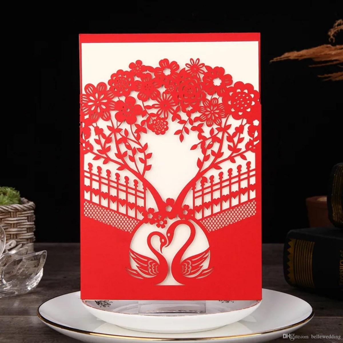 Red Wedding Invitations Laser Cut Wedding Invitations Pocket Red Invitation Card With Trees Swans Flowers Wedding Invitations With Envelopes Bw I0054