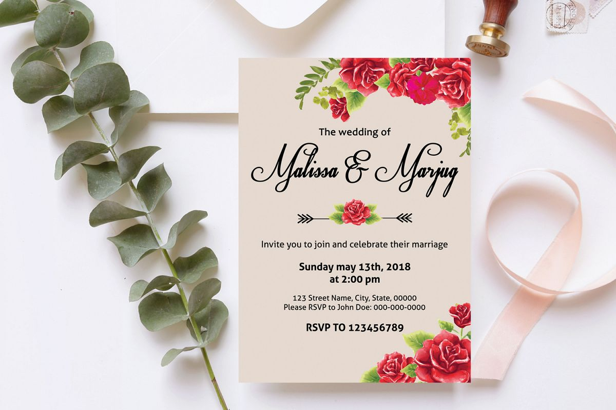 Red Wedding Invitations Red Flower Wedding Invitation Template