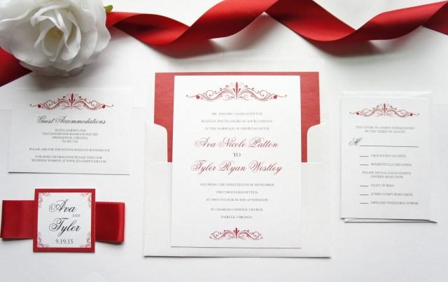 Red Wedding Invitations Red Wedding Invitation Sample Set Wedding Ideas Pinterest