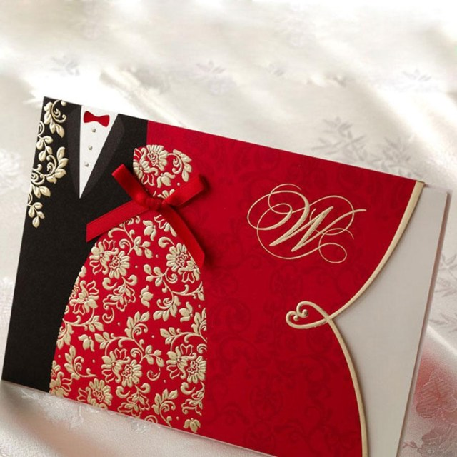 Red Wedding Invitations Typical Chinese Korean Red Wedding Invitations Dress Suit Cover Bow Embossing Carving Paper Envelope 50 Pieces At Least