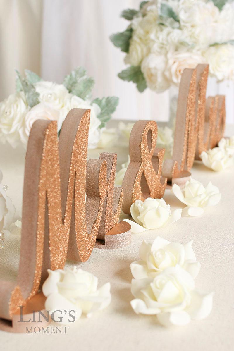 Rose Gold Wedding Decorations Rose Gold Glitter Mr And Mrs Letters Wedding Decorations Table Signs
