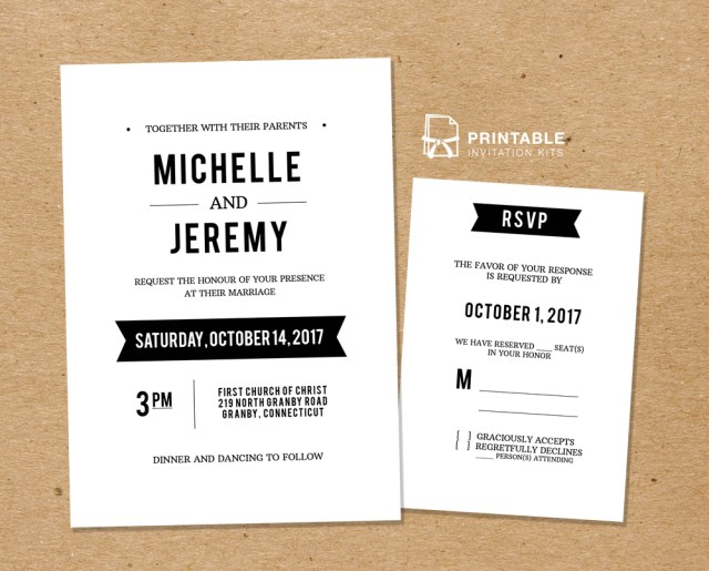 Rsvp Wedding Invitation Diy Free Pdf Printable Wedding Invitation And Rsvp Wedding