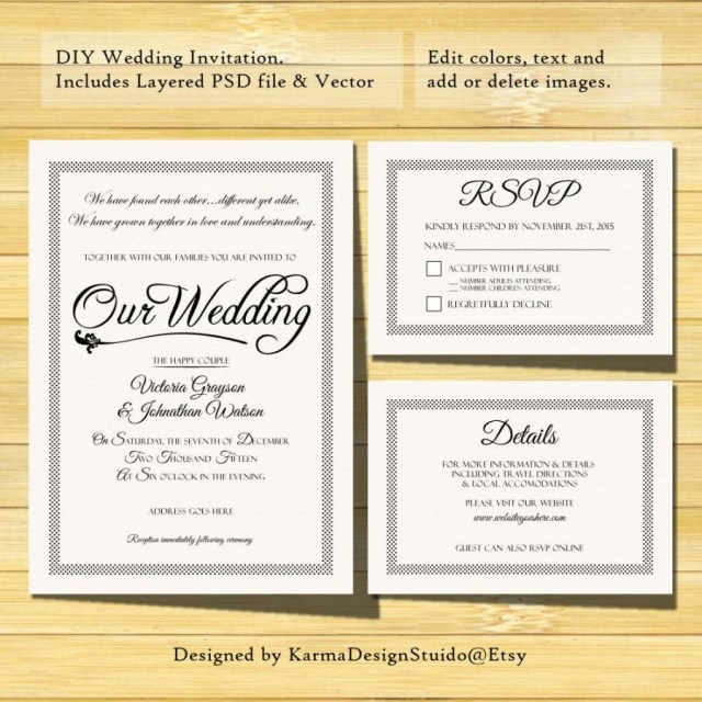 Rsvp Wedding Invitation Wedding Invitation Template Instant Download Printable