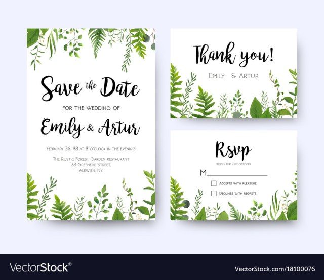 Rsvp Wedding Invitation Wedding Invite Invitation Menu Rsvp Thank You Vector Image
