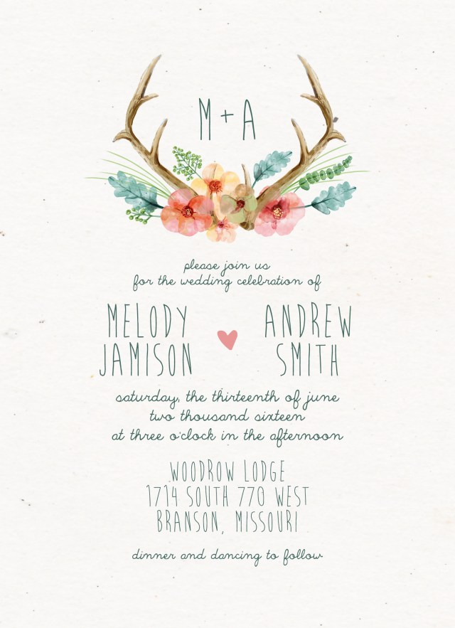 Rustic Chic Wedding Invitations Diy Bohemian Wedding Invitation Suite Deposit Diy Rustic Idealpin