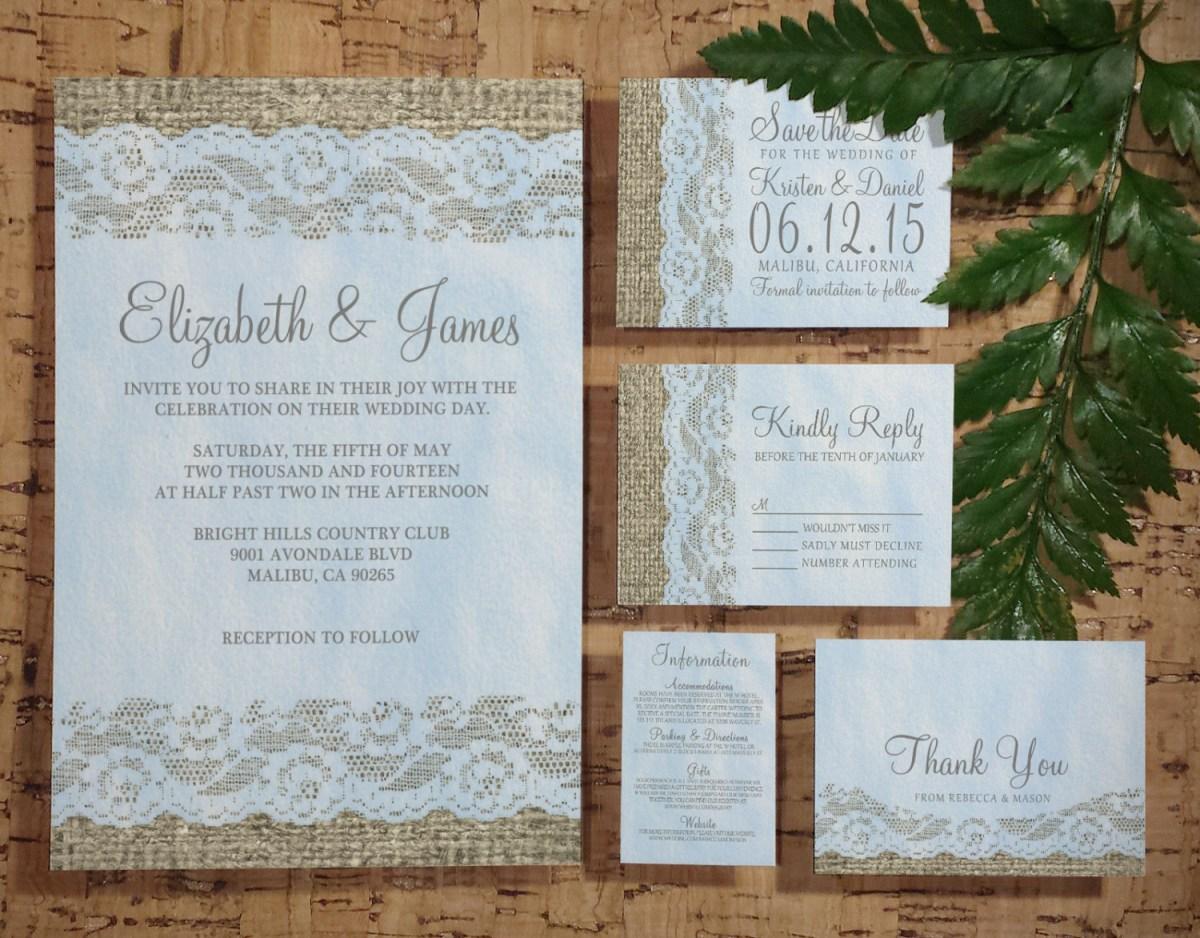 Rustic Lace Wedding Invitations Printable Blue Rustic Lace Wedding Invitations Setsuite Invites