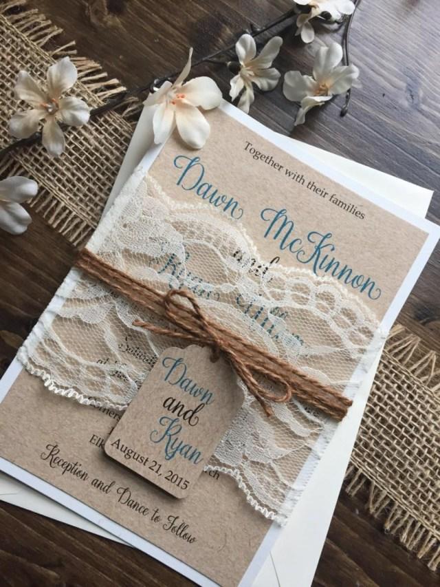 Rustic Lace Wedding Invitations Rustic Wedding Invitation Vintage Wedding Invitation Shab Chic