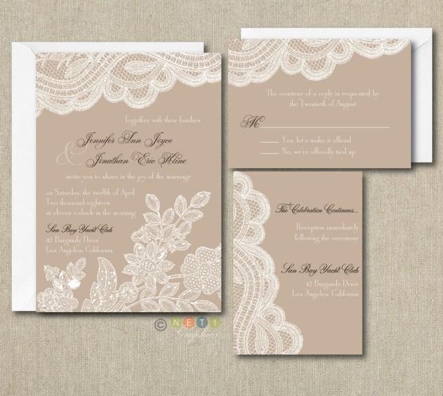 Rustic Vintage Wedding Invitations 100 Personalized Custom Rustic Vintage Lace Wedding Invitations Set