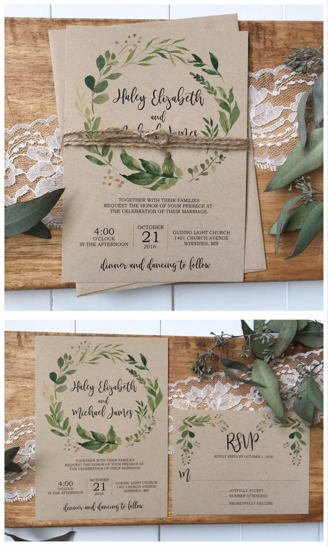 Rustic Wedding Invitation Rustic Wedding Invitation Greenery Wedding Invitation