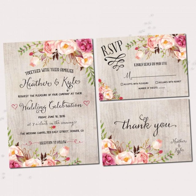 Rustic Wedding Invitation Rustic Wedding Invitations Printable Wedding Invitation Set Rustic