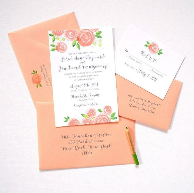Sample Wedding Invitation Custom Watercolor Wedding Invitation Sample Peach Von Mospensstudio