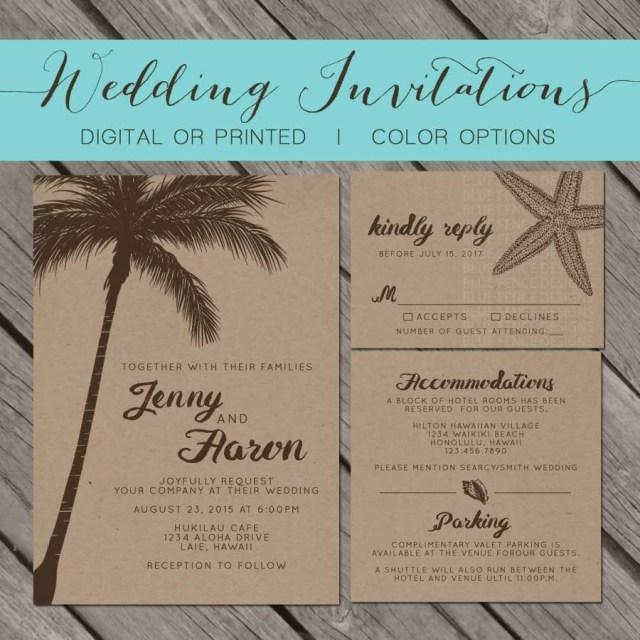 Seashell Wedding Invitations Beach Kraft Paper Wedding Invitation Palm Trees Island