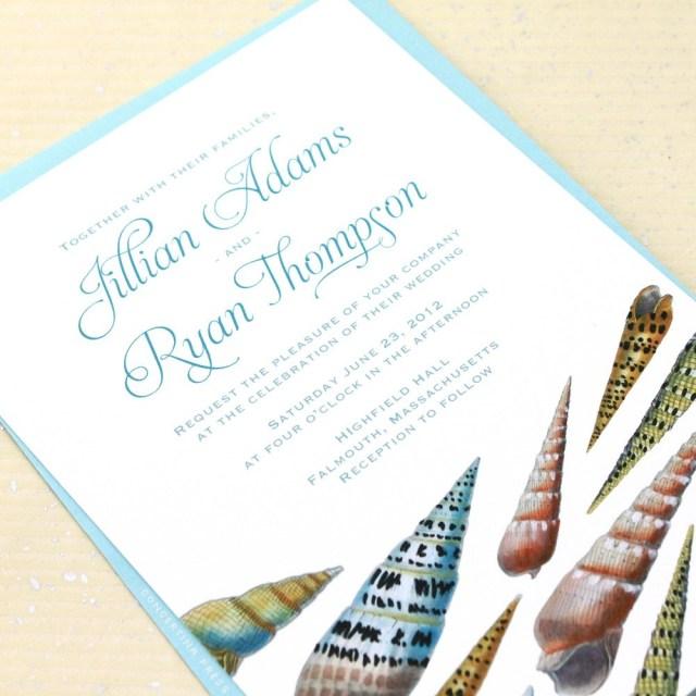 Seashell Wedding Invitations Concertina Press Seashell Beach Wedding Invitations