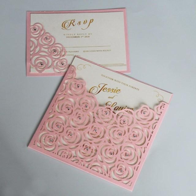 Seashell Wedding Invitations Pink Pocket Wedding Invitations Romantic Rose Invitation Cards With